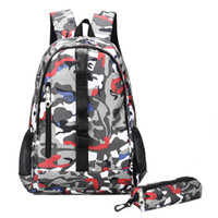 backpack notebooks Canada - Large Capacity Backpacks Women Men Laptop Notebook Backpack Casual Waterproof Travel Bags Camouflage Outdoor Sport Bags 2-piece