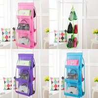 Wholesale beds wardrobes online - Creative Pockets Hanging Handbag Purse Storage Bag Rack Hanger Wardrobe Tidy Organizer After The Door Hang Bags xz Z