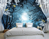 Wholesale natural style landscaping - 3D Wall Mural Wall Paper Natural Scenery Peaceful Night Forest Moon Custom 3D Room Landscape Photo Wallpaper Window View Bedroom