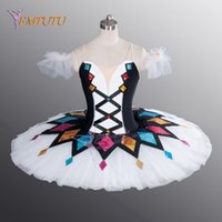 black white ballerina Canada - Harlequinade Dance Tutu Black White Ballerina Performance Professional Ballet Tutu Costume Classical ballet stage costume Women