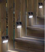 su geçirmez basamaklı ışıklar toptan satış-Su geçirmez 2-LED Güneş Enerjili Paslanmaz Çelik Merdiven LED Güneş Adım Işıkları Güneş Dock Işık 10 ADET