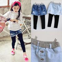 kızlar tutu etek tozluk pantolon toptan satış-Kızlar denim Etek Pantolon Kış Yeni Bahar Kızlar Kalınlaşmak Etek ile Kızlar Giysi Çocuk Çocuk Pantolon Tayt Tayt Pantolon Kız için