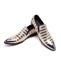 sapatos de zebra venda por atacado-Mens Genuine Leather Dress Shoes Fashion Casual Zebra Stripes Slip On Shoes Men British Style Club Shoes
