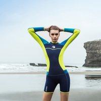 yüzme neopren kıyafeti toptan satış-1.5mm UV koruma İnce seksi dalış takım uzun kollu şort yüzen wetsuit sörf yüzme