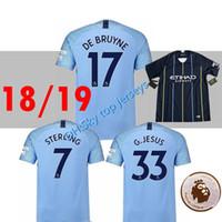Wholesale fan sleeves - Mendy Danilo 2018 2019 FAN VERSION Soccer jersey 18 19 Kevin De Bruyne KUN AGUERO Bernardo SANE SILVA G.JESUS SHORT Sleeve Football Shirt