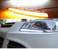 ford kuga entkommen großhandel-2 STÜCKE LED Tagfahrlicht Für Ford Flucht Kuga 2013 2014 2015, Drehen Gelbe Signal Relais Wasserdichte Auto 12 V LED DRL