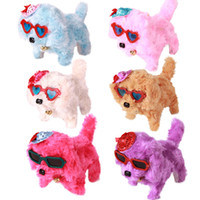 Wholesale flashing plush online - Cute Electronic Dog Pets Toy Fast Delivery New Battery Interactive Powered Steel Colorful Plush Walking Neck Bell Barking Xmas Birthday Toys