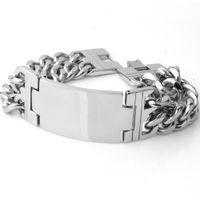 ingrosso braccialetto d'argento doppio collegamento-Cinturino in acciaio inossidabile 316L a grana grossa taglio Granny Chic con cinturino in acciaio inossidabile 316L