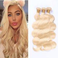 rus tüyleri toptan satış-Brezilyalı Vücut Dalga Saç Örgüleri Çift Atkı 100g pc 613 Rus Sarışın Renk Boyalı İnsan Remy Saç Demetleri