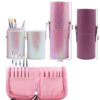 Wholesale makeup style pencil case - Mermaid Color Magnetic Empty Portable Makeup Brush Round Square Pen Holder Cosmetic Tool Brush Containers Pencil Case