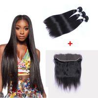 doğal saç dokuma toptan satış-Brezilyalı Düz İnsan Virgin Saç Örgüleri Dantel Frontal 13x4 Ile 3 demetleri Kulağa Dantel Frontal Çift Atkı Doğal Siyah Saç