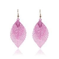 Wholesale double tassel earrings - Fashion Luxury Boho Double Color Leaf Dangle Earrings Big Pink Rainbow Leaves Long Tassels Drop Earring For Women Jewelry