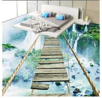 papel de jardinería al por mayor-Papel pintado de PVC 3D personalizado papel pintado en la pared papel de pared Impermeable Pisos autoadhesivos Etiqueta de la pared Paisaje cascada puente de madera piso