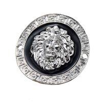 conectores de joyas de animales al por mayor-100 unids DIY joyería 36 * 36.8mm esmalte de aleación de color plata negro redondo león animal cabeza conector encantos colgante para pulsera collar