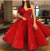 ingrosso bei vestiti da promenade increspati-Nuovo vestito da sera di promenade sexy su ordinazione dell'increspatura dell'abito di sfera della spalla del vestito da sera rosso lussuoso nuovo