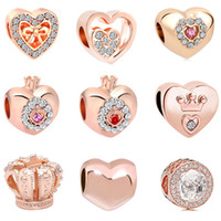 Wholesale white rose princess for sale - Group buy 2018 new european MOQ20pcs rose gold heart crown princess diy jewelry marking big hole bead fit pandora charm bracelet D028