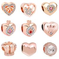 jóias de contas de rosa venda por atacado-2018 novo frete grátis europeu MOQ20pcs subiu coração de ouro coroa princesa diy jóias marcação big hole bead fit pandora charme pulseira D028