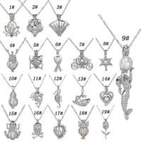 ingrosso pendenti profumati di collane-Collana con ciondolo in gabbia di perle d'argento con disegni di perle di ostrica perline di lava intercambiabili 6-8mm pietre private con diffusore di profumo