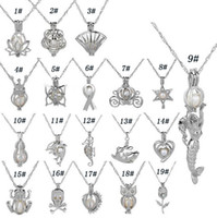 Wholesale necklaces scented pendant for sale - Group buy Silver Pearl Cage Pendant Necklace With Oyster Pearl Mix Designs Interchangeable mm Lava Beads Own Stones Scent Diffuser Locket