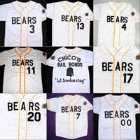 Wholesale news free - Bad news BEARS Movie Jersey Button Down White 100% Stitched Custom Baseball Jerseys Any Name Number Free Shipping Wholesale
