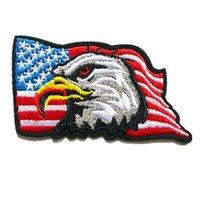 eule adler großhandel-Stickerei Patch USA Flagge Eagle nähen Eisen auf Flecken gestickte Abzeichen für Tasche Jeans Hut T Shirt DIY Applikationen Handwerk Dekoration