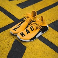 Wholesale Flat Shoes Branded - HOTSALE WITH BOX 2018 New NMD Human Race Pharrell Williams Women Men Mens luxury Running Designer Brand Shoes Trainers Sneakers