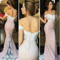 Wholesale Backless Tops Open Back - 2018 Elegant Sexy Blush Pink Off-Shoulder Mermaid Prom Dresses Lace Appliques Top Open Back Evening Gowns Plus Size Vestidos De Festa