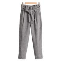 pajarita de houndstooth al por mayor-Las mujeres de la vendimia houndstooth pantalones a cuadros pajarita blet cálida y gruesa moda de las señoras ocasionales pantalones de longitud completa