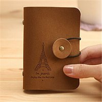 Wholesale Tower Cards Credit - Fashion Women Men Eiffel Tower 24 Slots ID Credit Cards Holders Organizer Case Pocket Brown Business Card Holder Dropshipping