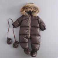 kış için bebek gömlekçiliği toptan satış-2018 Sıcak Kış Bebek Snowsuit Yenidoğan Ördek Aşağı Kapşonlu Tulum Bebek Bebek Kız Erkek Bodysuits Tulumları 6-24 M