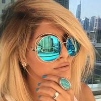 vintage runde übergroße sonnenbrille großhandel-Übergroße Runde Sonnenbrille Mode Frauen Große Größe Große Retro Spiegel Sonnenbrille Dame Weibliche Vintage Marke Designer UV400