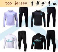 Wholesale Skinny Sweat Shorts Men - Soccer tracksuits 2017 18 Best quality Real Madrid training suit sweat top high neck jogging football pant skinny pants Sportswear 20