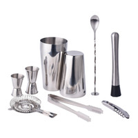 Wholesale bar sets cocktail shaker - Boston Double Shaker Bar Tools Bpa Free Stainless Steel 304 High -End 9 Pieces Cocktail Shakers Set