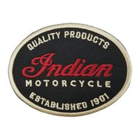 Wholesale indian clothing free shipping for sale - Indian Motorcycle Quality Leather Oval Patch Motorcycle Biker Club MC Front Jacket Vest Patches for Clothing