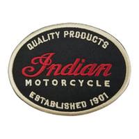 indische kleidung freies verschiffen großhandel-Indian Motorrad Qualität Leder 1901 Oval Patch Motorrad Biker Club MC Front Jacke Weste Patches für Kleidung Kostenloser Versand