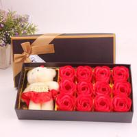 anneler küçük toptan satış-DIY El Yapımı Gül Sabun Çiçekler Için Romantik Anne Küçük Tatlı Ayı Ile Çiçeklenme Günü Hediyeleri Çiçek Yenilik 6 5 mw B