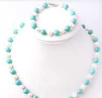 pulsera de perlas azul blanco al por mayor-NUEVO Natural 7-8mm White Pearl 8mm Blue Turquoise Necklace Bracelet Set
