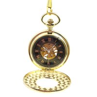 Wholesale antique gold pocket watch chain - Golden Tone Wood Circle Hollow Case Roman Number Dial Hand Wind Mens Mechanical Pocket Watch w Chain Fob Watch Reloj De Bolsillo