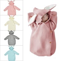 Wholesale hand knitted wool bags resale online - 74cm Newborn Baby Hooded Swaddle Wrap Rabbit Ear Knit Swaddling Blanket warm Wool Toddler Sleeping Bag Colors AAA1185