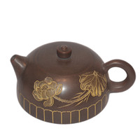 Wholesale Bronze Teapot - Brand New Nixing Chinese Pottery Teapot Hand Made Crescentic Decorative Carved Pattern Yellow and Bronze Color Unglazed Handicraft Tea Pot