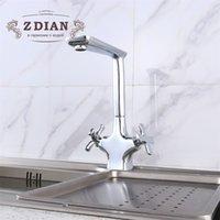 nuevos grifos de diseño al por mayor-Nuevo fregadero de la cocina de Chrome Faucet Seven Letter Design Mezclador de agua fría y caliente de la rotación de 360 grados