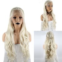 Wholesale platinum long wigs - High Temperature Fiber Platinum Blonde Braided Long Natural Wave Princess Synthetic Lace Front Wig With Baby Hair