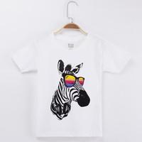 ropa de cebra para niño de niños al por mayor-2018 Kids Clothes Chidren camiseta Zebra Wear Glasses 100% algodón blanco Chid Boy Shirt Girl Short camisetas Baby Boys Tops unisex tamaño 4T-12T