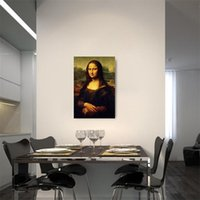 Wholesale unframed picture frames online - New Creative Frameless Living Room Bedroom Poster Decor Classical Famous Painting Mona Lisa Simulation Canvas Oil Paintings Hot Sale ld aa