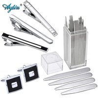 Wholesale nickel sets - Ayliss 1 Set Stainless Steel Cuff Link&Tie Clip Metal Collar Stays Shirt Inserts Gift For Business Men BF Father pince cravate