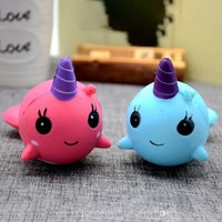 Wholesale Big Whales - 8cm unicorn Squishy Toys for Kids slow rising squishy Finger Doll Puppets squishy unicorn whales Toy Stretchy Animal Healing OTH084