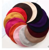 ingrosso berretti-A buon mercato Moda Nuove donne di lana tinta unita berretto da donna berretto invernale invernale abbinato a caldo cappello da passeggio berretto da 20 colori