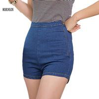enge knöpfe jeans großhandel-Großhandels- HIRIGIN 2017 neue reizvolle Frauen nehmen hohe Taillen-Jeans-Denim-Hahn-Kurzschluss-heiße Kurzschluss-feste Seite-Knopf ab