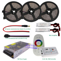 Wholesale rf amplifiers resale online - 5M M M M M DC12V Led Strip SMD Led Flexible Light led m G RF Remote controller Power adapter Amplifier