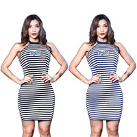 Wholesale stripe pencil dress - Summer Stripe Printed Dress Sexy Night Club Backless Halter Neck Dress Mini Sheath Dresses For Female
